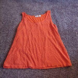 Cato orange lace overlay tank shirt